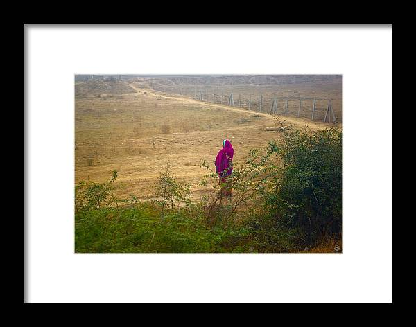 Indian Woman Framed Print featuring the photograph Indian Woman In Field by Andy Fletcher