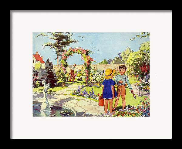 1950�s Framed Print featuring the drawing Infant School Illustrations 1950s Uk by The Advertising Archives