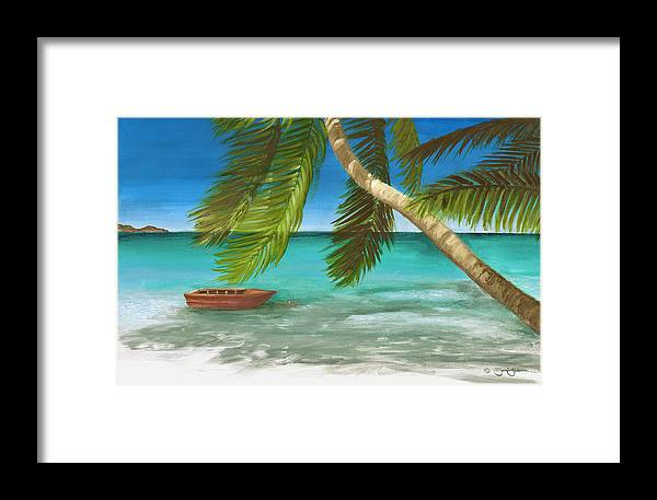 Blue Framed Print featuring the painting Island Breeze by Jamin Huber