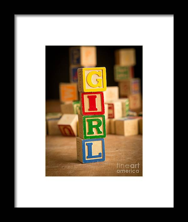 Abs Framed Print featuring the photograph Its A Girl - Alphabet Blocks by Edward Fielding