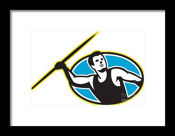 Javelin Framed Print featuring the digital art Javelin Throw Track And Field Athlete by Aloysius Patrimonio