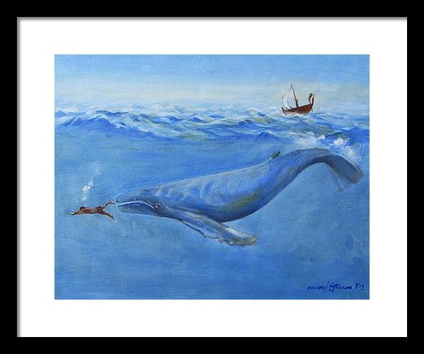 Bible;jonah And The Whale;whale;humpback Whale;mammals;sea Mammals;stormy Sea;fish;boat;waves;religion;old Testiment;spiritual;god And Religion;ad;seascape;water;sky;weather Framed Print featuring the painting Jonah by Howard Stroman
