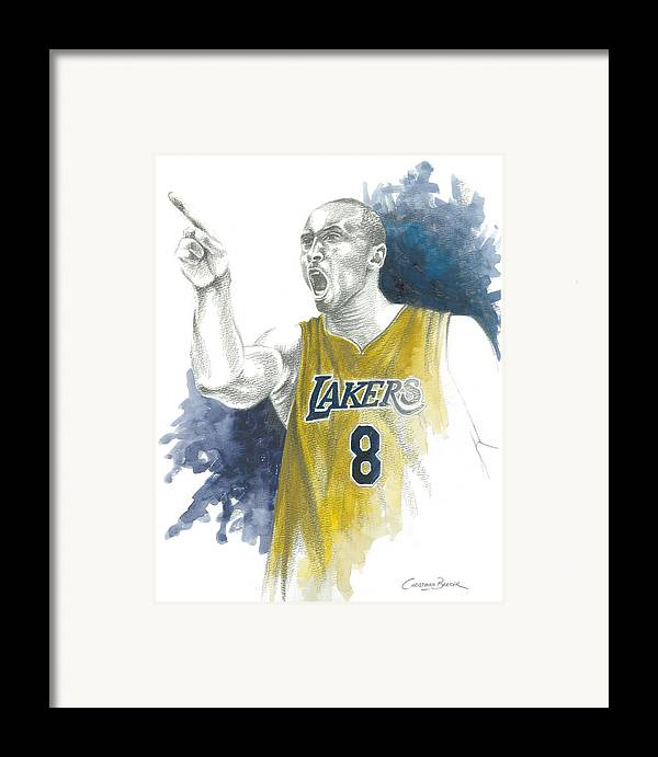 Kobe Framed Print featuring the painting Kobe Bryant by Christiaan Bekker