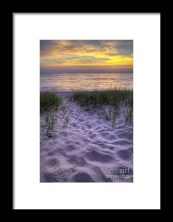 Lake Framed Print featuring the photograph Lake Michigan Sunset by Twenty Two North Photography