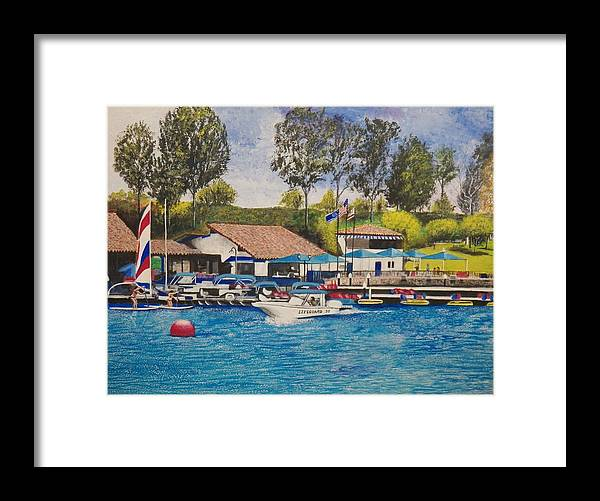 Water Framed Print featuring the painting Lake Mission Viejo by Jim Reale