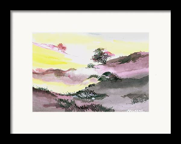 Floral Framed Print featuring the painting Landscape 1 by Anil Nene
