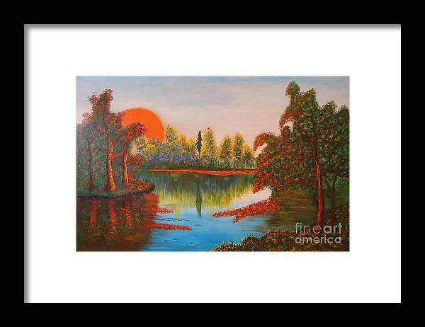 Beautiful Landscape Framed Print featuring the painting Landscape by Thejnana Yadava