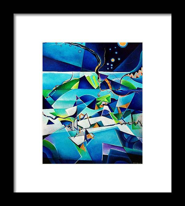 Landscpae Abstract Acrylic Wood Pens Framed Print featuring the painting Landscape by Wolfgang Schweizer