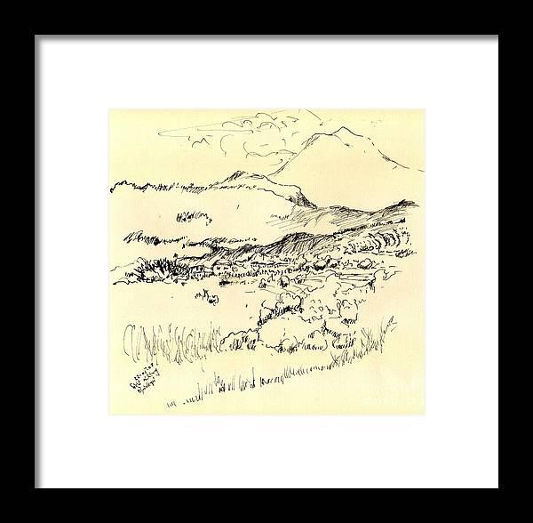 Mountain Framed Print featuring the drawing Lefka Ori by Karina Plachetka