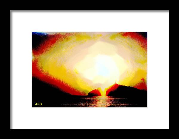 Landscape Framed Print featuring the digital art Light From Heaven by Jean-Claude Delhaise