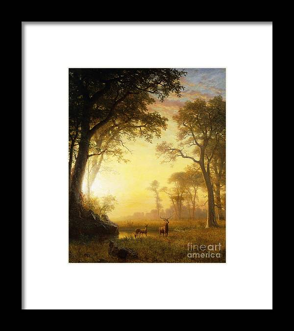19th Century Framed Print featuring the painting Light In The Forest by Albert Bierstadt