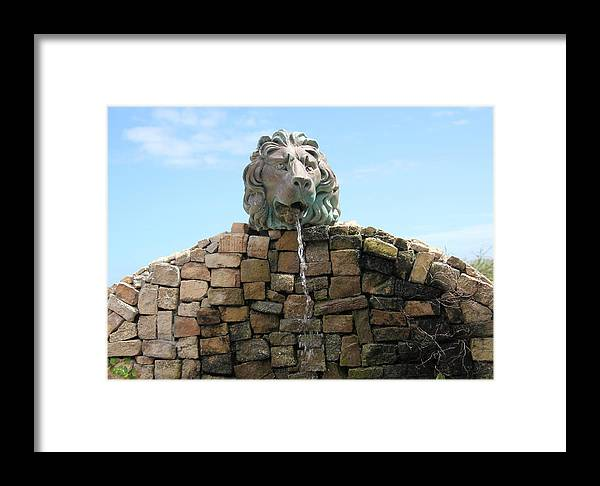 Lion Framed Print featuring the photograph Lion Water Fountain. by Oscar Williams