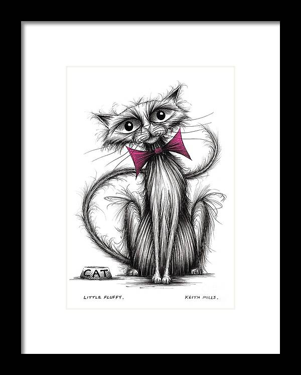 Little Fluffy Framed Print featuring the drawing Little Fluffy by Keith Mills