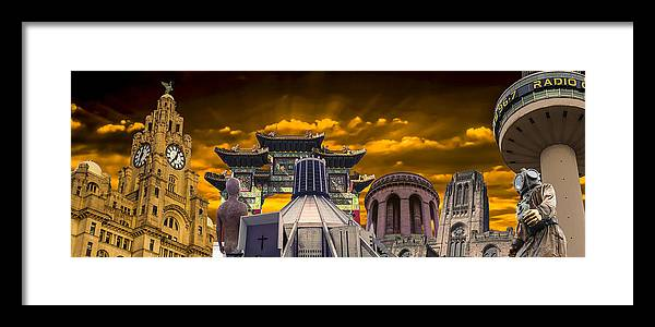 Liverpool Framed Print featuring the photograph Liverpool Landmarks Montage by Paul Madden