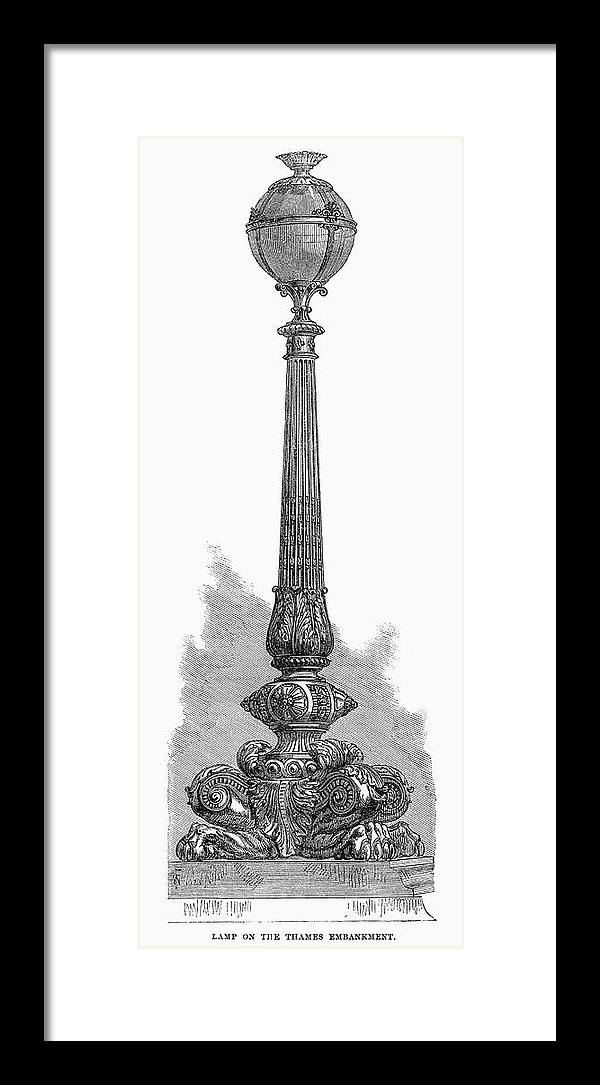 1870 Framed Print featuring the painting London Street Lamp, 1870 by Granger