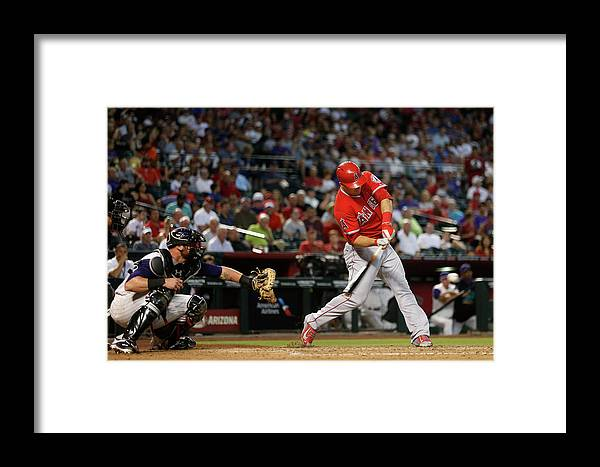 People Framed Print featuring the photograph Los Angeles Angels Of Anaheim V Arizona 1 by Christian Petersen