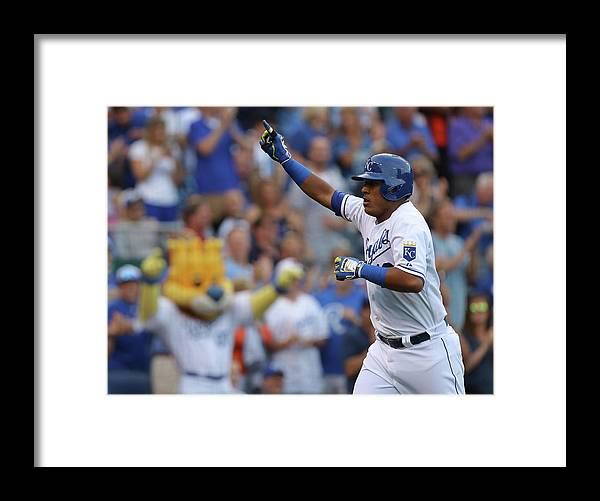 Second Inning Framed Print featuring the photograph Los Angeles Dodgers V Kansas City Royals by Ed Zurga
