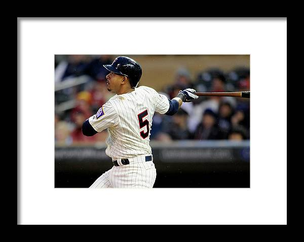 Second Inning Framed Print featuring the photograph Los Angeles Dodgers V Minnesota Twins 1 by Hannah Foslien