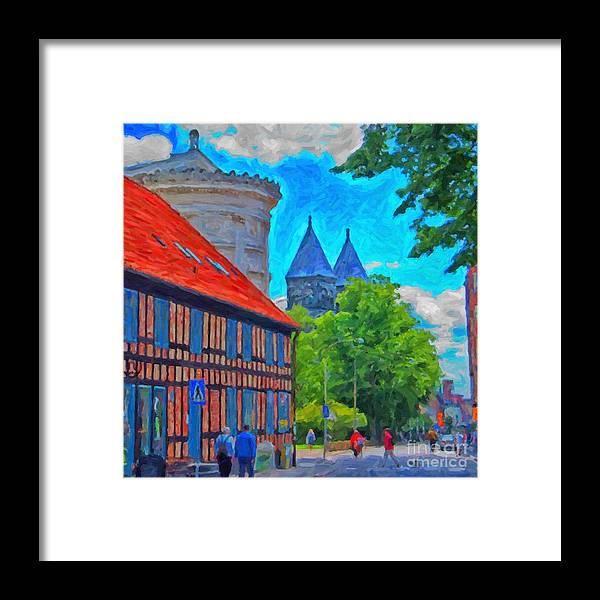 Lund Framed Print featuring the painting Lund Street Scene by Antony McAulay