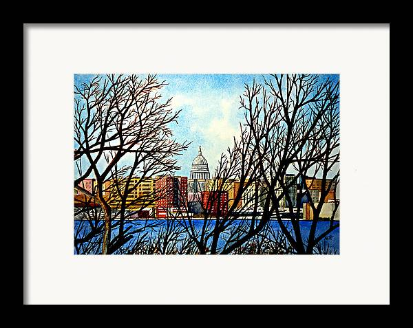 Wisconsin Framed Print featuring the painting Madison Treed by Thomas Kuchenbecker