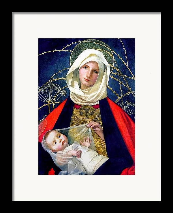 Madonna And Child Framed Print featuring the painting Madonna And Child by Marianne Stokes