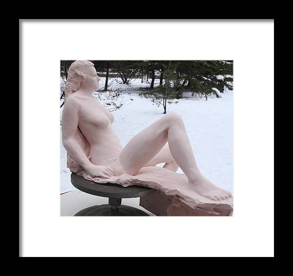"Maggi Jane 2013 13""h X 15""w X 10""d Stoneware  Buono Sculpture Art  Framed Print featuring the sculpture Maggi Jane by Robert Buono"