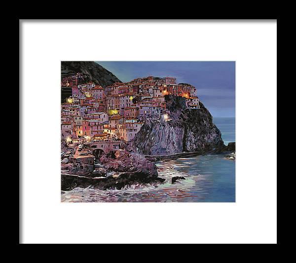 Manarola Framed Print featuring the painting Manarola al crepuscolo by Guido Borelli