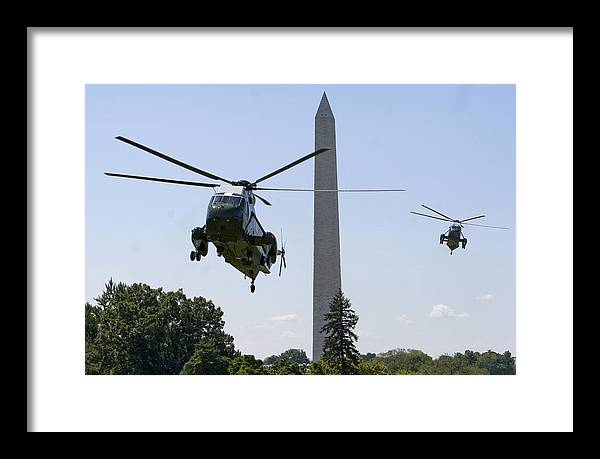 President Framed Print featuring the photograph Marine One by JP Tripp