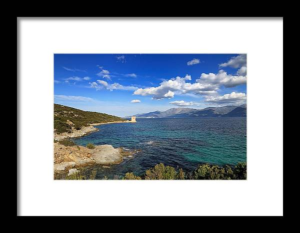 Ancient Framed Print featuring the photograph Martello Tower Near St Florent In Corsica by Jon Ingall