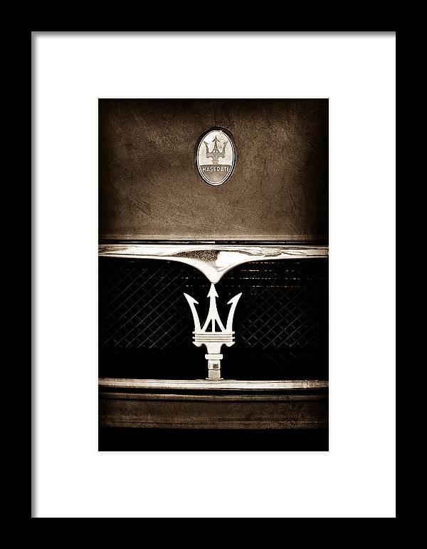 Maserati Hood Emblem Framed Print featuring the photograph Maserati Hood - Grille Emblems by Jill Reger