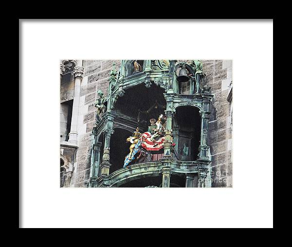 Glockenspiel Framed Print featuring the photograph Mechanical Clock In Munich Germany by Howard Stapleton