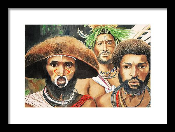 Papua Framed Print featuring the painting Men From New Guinea by Judy Swerlick