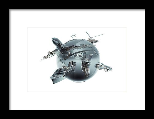 Artificial Framed Print featuring the photograph Metallic Globe With Different Forms Of by Coneyl Jay