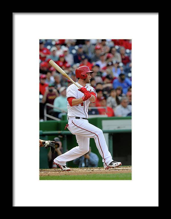 American League Baseball Framed Print featuring the photograph Miami Marlins V Washington Nationals 1 by Greg Fiume