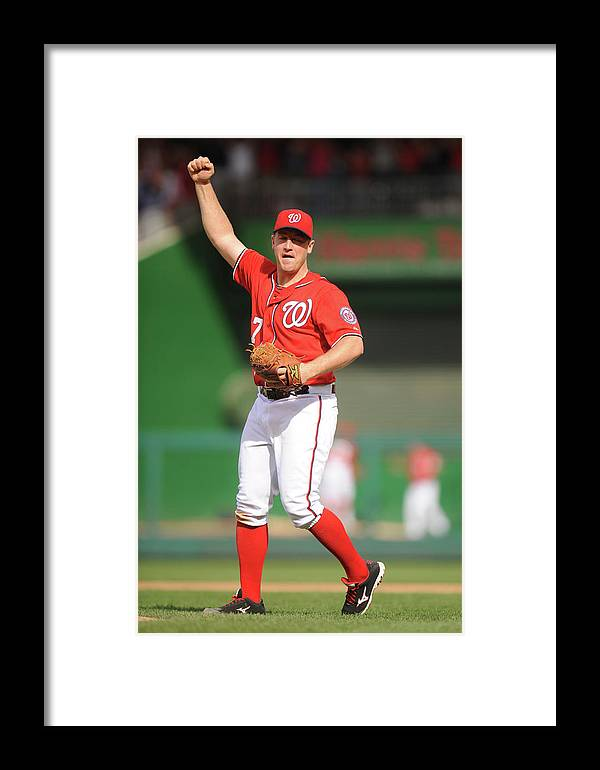 Celebration Framed Print featuring the photograph Miami Marlins V Washington Nationals 1 by Mitchell Layton