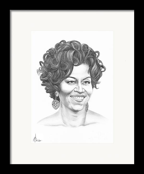 Portrait Framed Print featuring the drawing Michelle Obama by Murphy Elliott