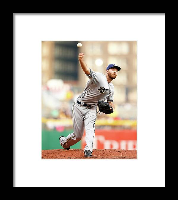 American League Baseball Framed Print featuring the photograph Milwaukee Brewers V Pittsburgh Pirates by Jared Wickerham