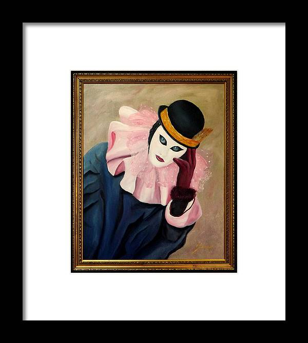 Mask Series Framed Print featuring the painting Mime With Thoughts by Gino Didio