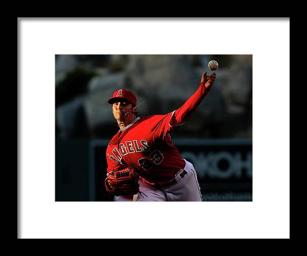 American League Baseball Framed Print featuring the photograph Minnesota Twins V Los Angeles Angels Of by Stephen Dunn