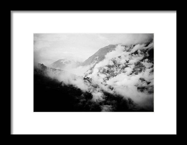 Gosaikunda Framed Print featuring the photograph Mist In Mountain Himalayas by Raimond Klavins