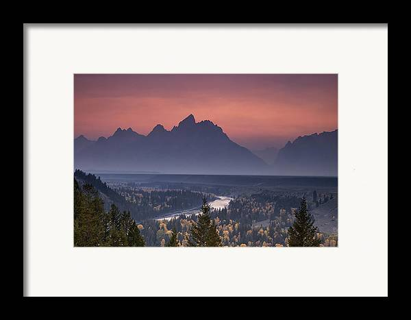Mountain Framed Print featuring the photograph Misty Teton Sunset by Andrew Soundarajan