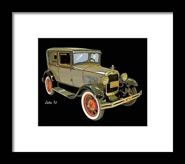 Model A Framed Print featuring the digital art Model A by Larry Linton