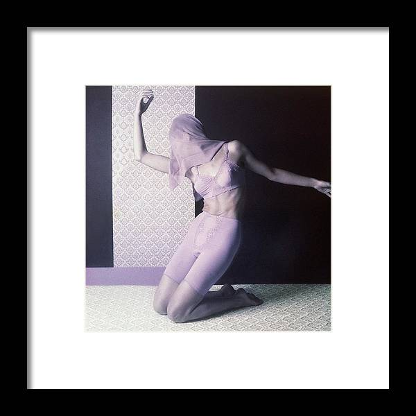 Studio Shot Framed Print featuring the photograph Model In Underwear With Scarf Over Face by Horst P. Horst