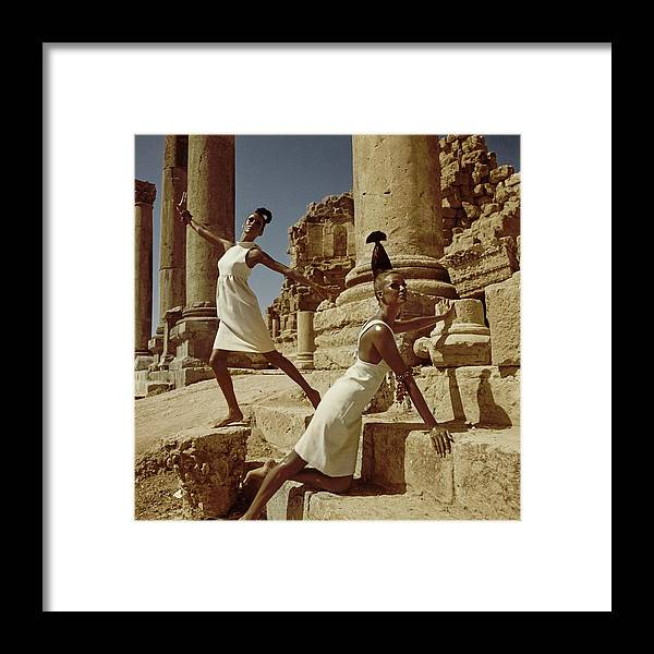 Fashion Framed Print featuring the photograph Models At Nymphaeum by Henry Clarke