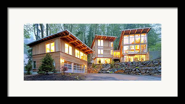 Architecture Framed Print featuring the photograph Modern Home In Woods by Will Austin