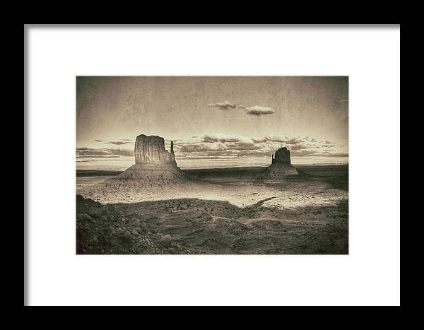 Monument Valley Framed Print featuring the photograph Monument Valley Aged Black And White by Glen Jensen
