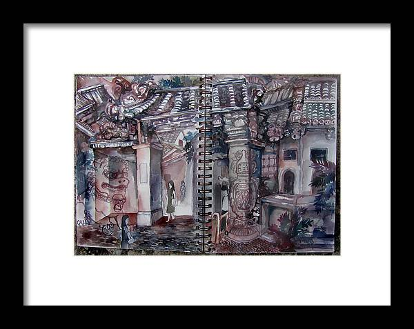 Asia China Taiwan Market Morning Temples Tiled Roof People Women Men Plants Palm Trees Texture Landscape Cityscape Dream-like Surreal Daydream Fantasy Scenery Framed Print featuring the painting Morning In The Market by James Huntley
