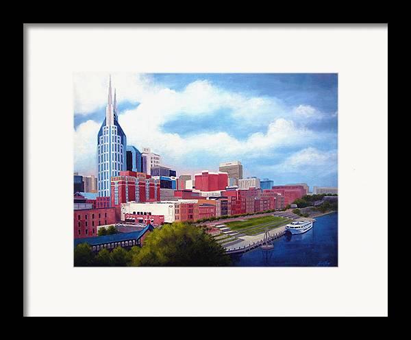 Nashville Framed Print featuring the painting Nashville Skyline by Janet King