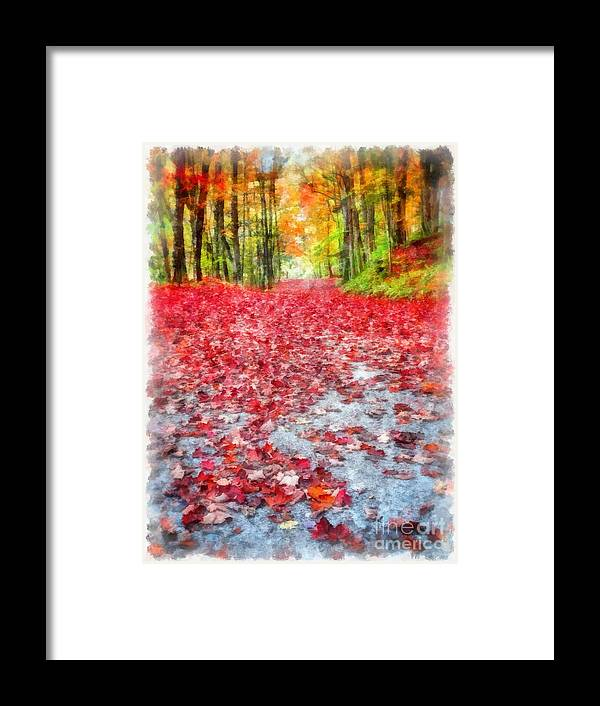 Fall Framed Print featuring the painting Nature's Red Carpet Watercolor by Edward Fielding