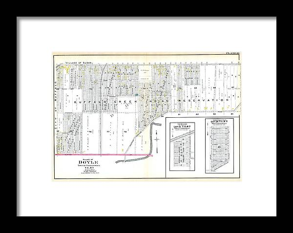 Map Of New York Indian Reservations.New York 1915 Doyle Village Buffalo Suburban Buffalo Creek Indian Reservation Framed Print
